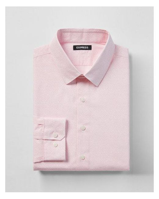 Express - Pink Slim Fit Cotton Micro Print Floral Dress Shirt for Men - Lyst