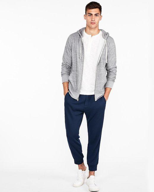 Express Vintage Fleece Full Zip Front Hoodie Gray for men