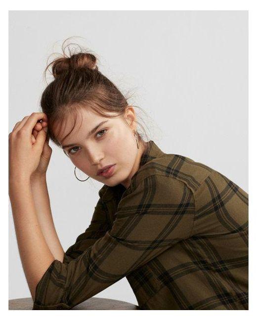Express - Green Flannel Boyfriend Shirt - Lyst