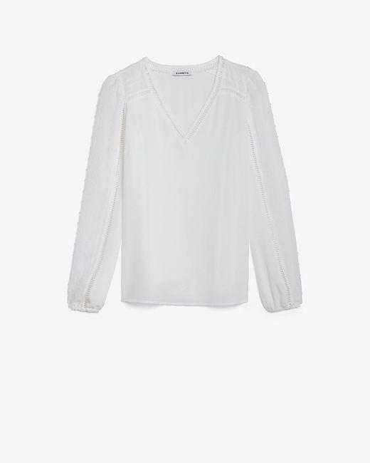 Express White Clip Dot Sleeve Top