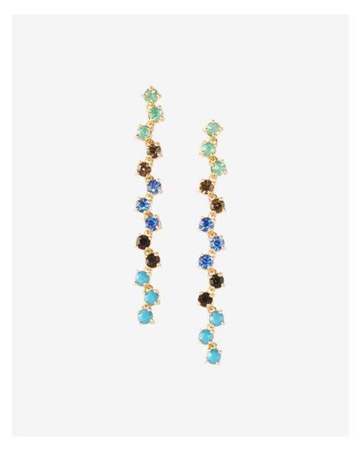 Express   Blue Zigzag Multicolor Stone Linear Drop Earrings   Lyst