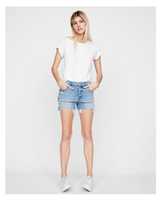 Express - Blue High Waisted Vintage Lace-up Cutoff Original Denim Shorts - Lyst