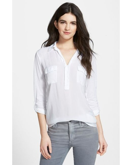 Splendid | White Lightweight Chest Pocket Shirt | Lyst
