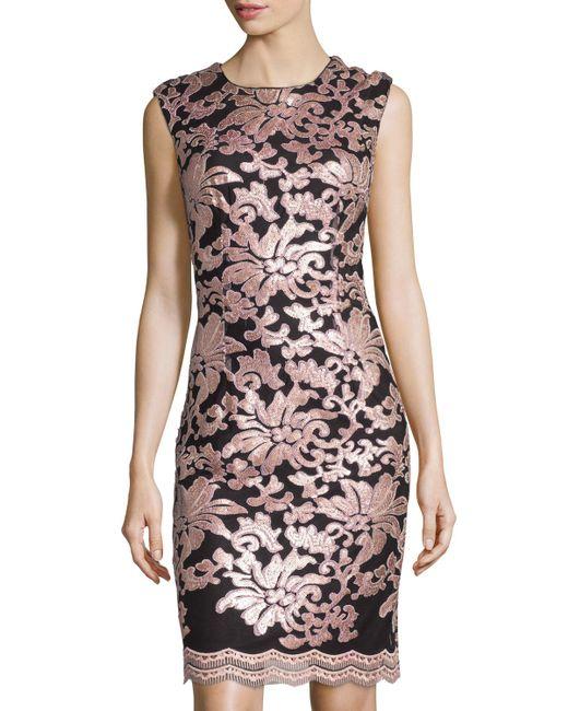 Chetta B Sequined Brocade Sheath Dress In Black Powder