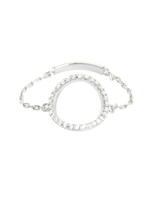 Astrid & Miyu | Metallic Tuxedo Circle Chain Ring In Silver | Lyst
