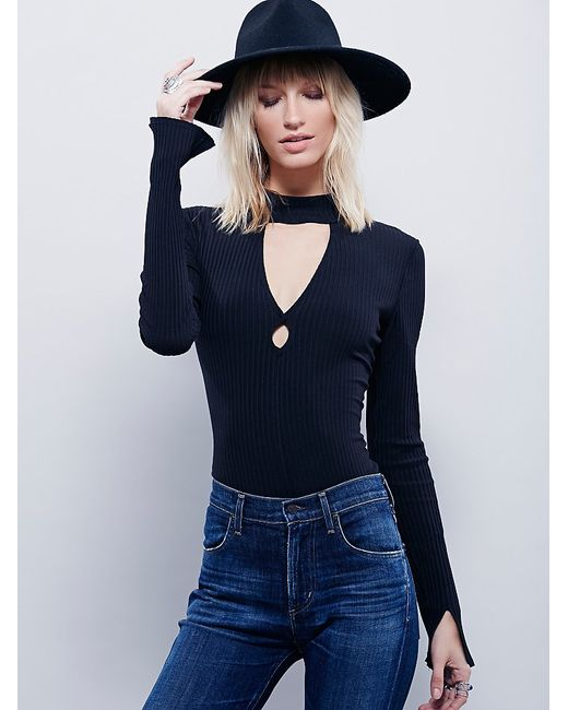 Free People | Black Double Dot Turtle Neck | Lyst