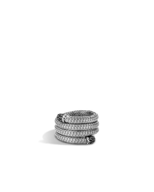 John Hardy | Classic Chain Coil Ring With Black Sapphire | Lyst