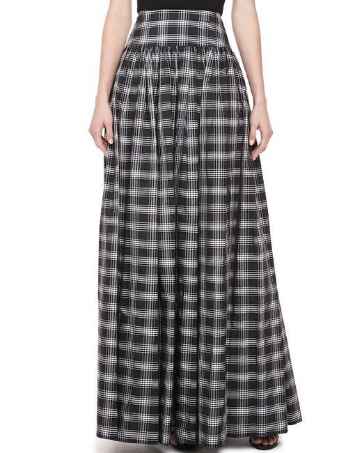 michael kors taos plaid taffeta maxi skirt in gray black