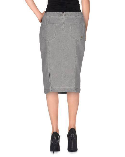 manila grace denim skirt in gray grey save 71 lyst