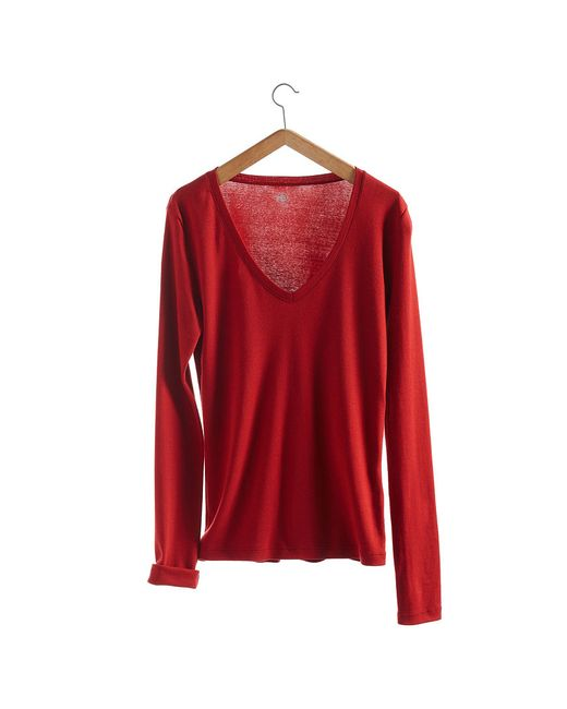 Petit Bateau | Red Women's Long-sleeved, V-neck Tee In New Cotton | Lyst