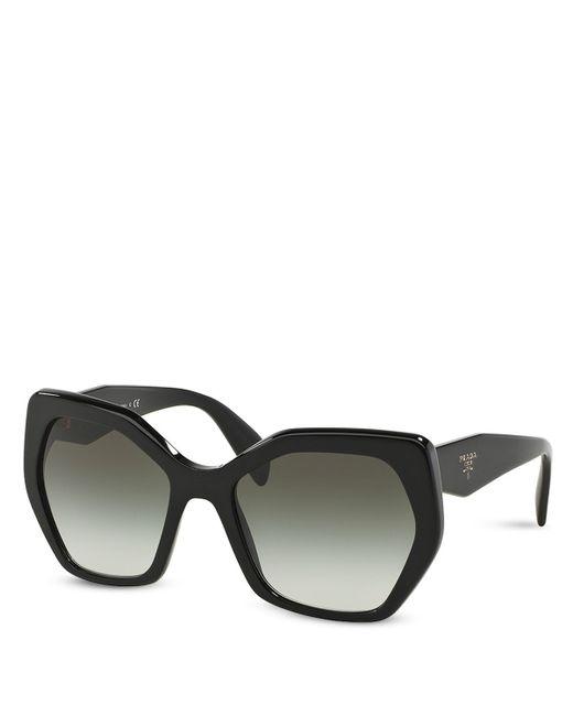 Prada | Black Oversized Geometric Sunglasses, 56mm | Lyst