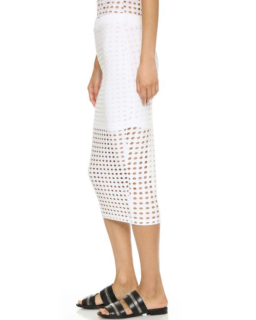 t by wang circular knit pencil skirt in white lyst