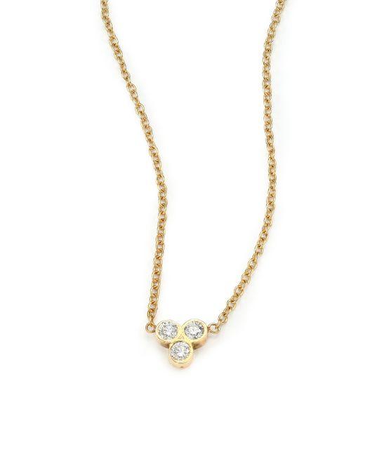 Zoe Chicco | Metallic Diamond & 14k Yellow Gold Three-bezel Necklace | Lyst