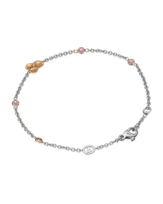 Theo Fennell | White Pink Sapphire And Diamond Hibiscus Tryst Bracelet | Lyst