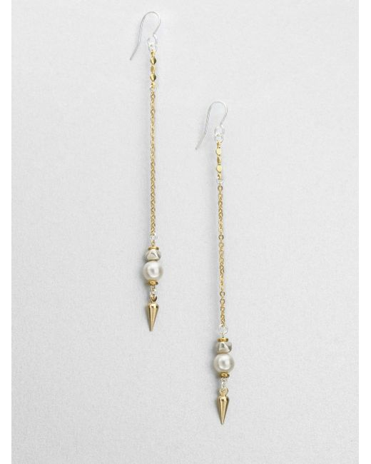Bing Bang | Metallic Bullet Threader Earrings | Lyst