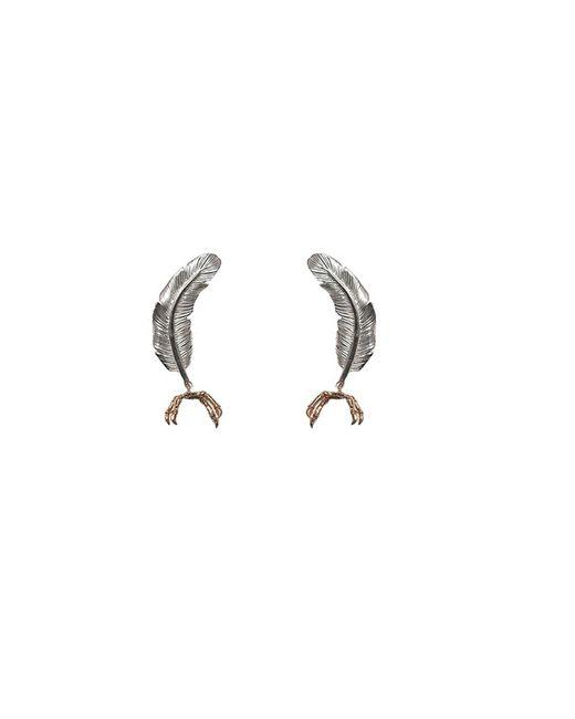 Bernard Delettrez | Metallic Little Silver Feather With Gold Parrot Claw Earrings | Lyst
