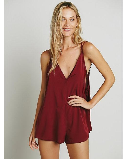 Free People | Red Serious Babe Romper | Lyst