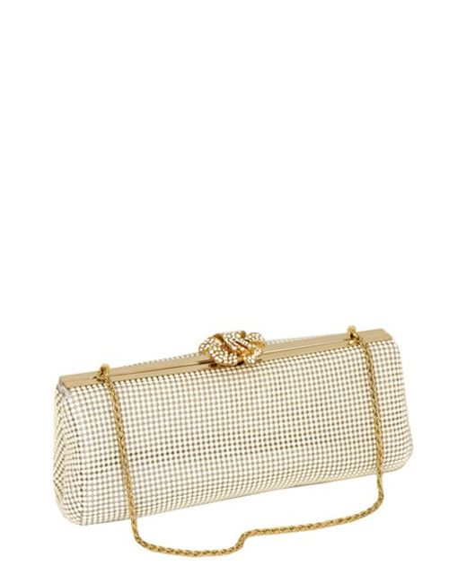 Whiting & Davis | White 'crystal Flower' Metal Mesh Clutch | Lyst