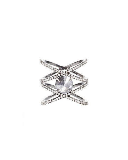 Eva Fehren   Metallic Xx Ring With Inverted Grey Diamond Ring   Lyst