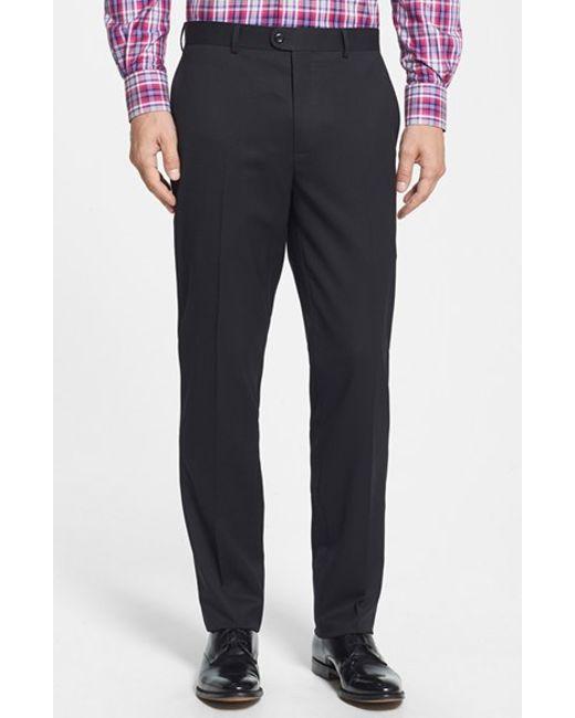 Bensol | Black 'gab' Trim Fit Flat Front Pants for Men | Lyst