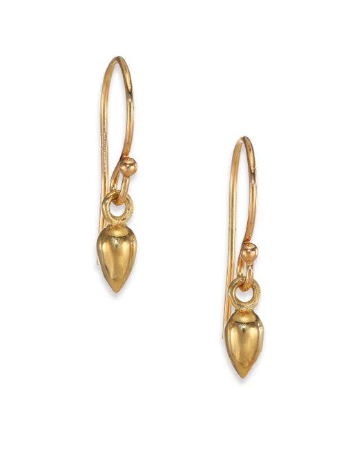 Zoe Chicco   Metallic 14k Yellow Gold Short Bullet Drop Earrings   Lyst