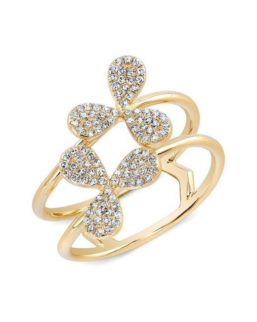 Anne Sisteron | Pink 14kt Yellow Gold Diamond Petal Knuckle Ring | Lyst