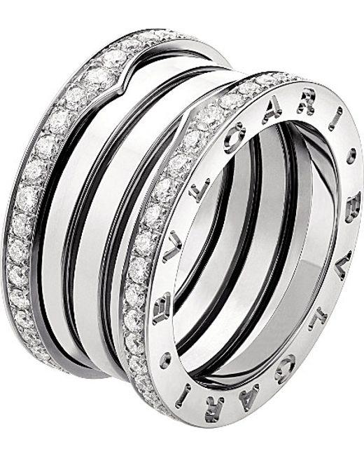 BVLGARI | Metallic B.zero1 Three-band 18ct White-gold Ring | Lyst