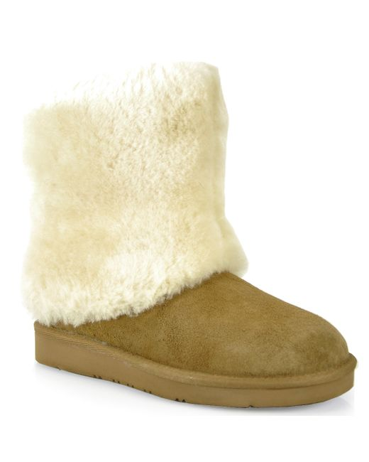 ugg shearling cuff boot in brown lyst