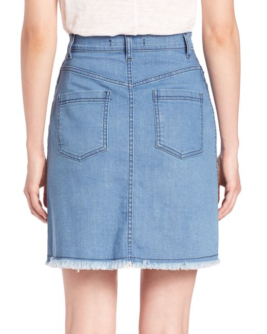 nicholas button up denim mini skirt in blue save 76 lyst
