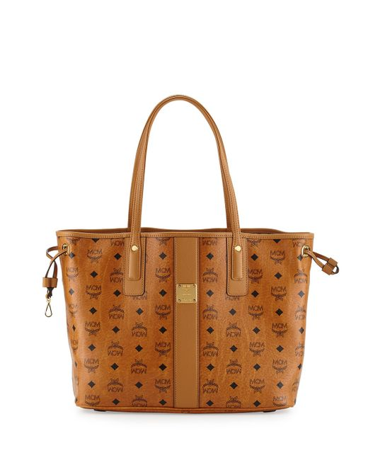 mcm liz reversible shopper tote bag in brown cognac lyst. Black Bedroom Furniture Sets. Home Design Ideas