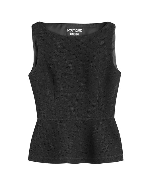 Boutique Moschino | Natural Embroidered Sleeveless Top | Lyst