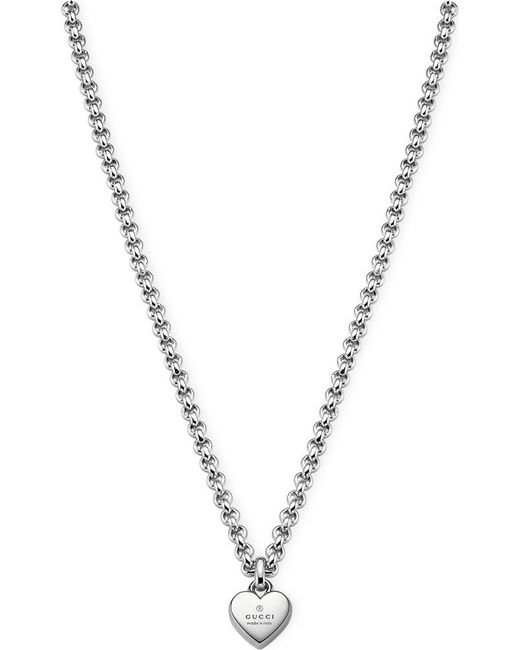 Gucci | Metallic Trademark Sterling Silver Pendant Necklace | Lyst