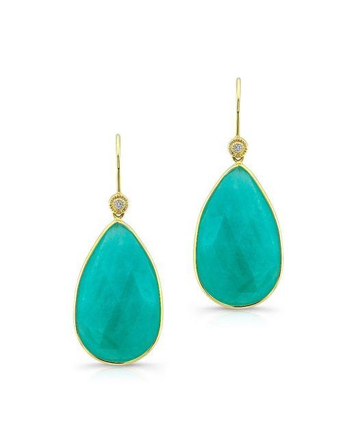 Anne Sisteron - Blue 14kt Yellow Gold Amazonite Earrings - Lyst