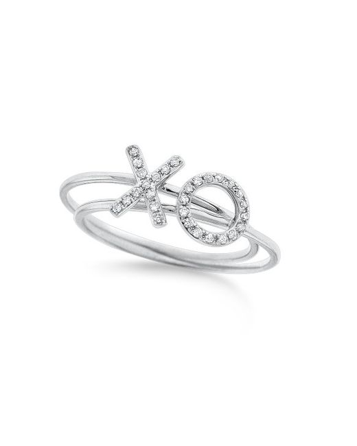 "KC Designs | White 14k Gold And Diamond ""xo\"" Stack Rings 