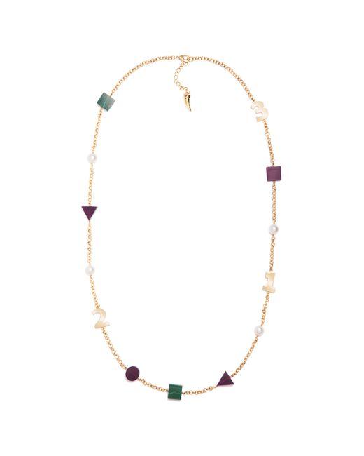 Eshvi | Multicolor Back To School Malachite Numbers Necklace | Lyst