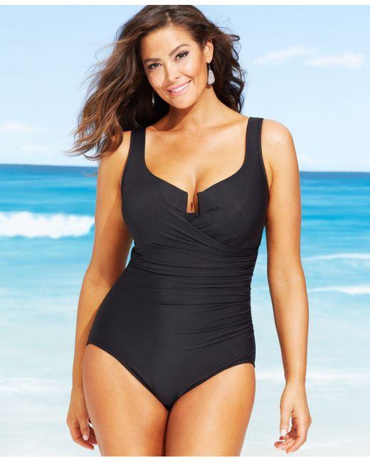 Miraclesuit Plus Size Escape One-piece Swimsuit in Black ...