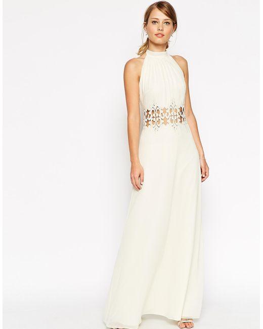 ASOS | Natural Halter Lace Maxi Dress | Lyst