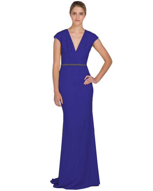 Badgley Mischka | Blue Cap-sleeve Odessa Evening Gown | Lyst