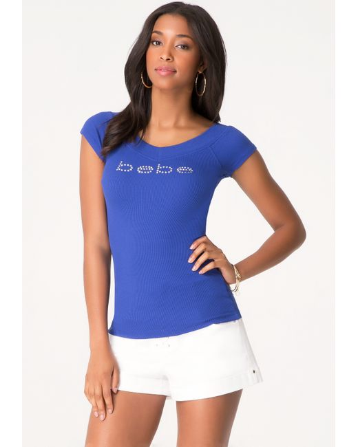 Bebe | Blue Double V-neck Logo Tee | Lyst