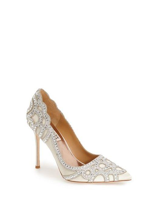 Bridal Shoes At Nordstrom: Badgley Mischka Rouge Embellished-Satin Pumps In White