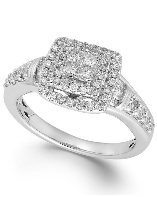 Macy's | Diamond Halo Ring In 14k White Gold (5/8 Ct. T.w.) | Lyst