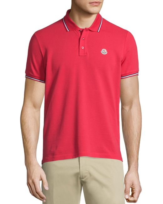 Moncler Tape Tipped Short Sleeve Pique Polo Shirt In Red