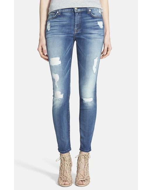 7 For All Mankind | Blue 7 For All Mankind Destroyed Ankle Skinny Jeans | Lyst