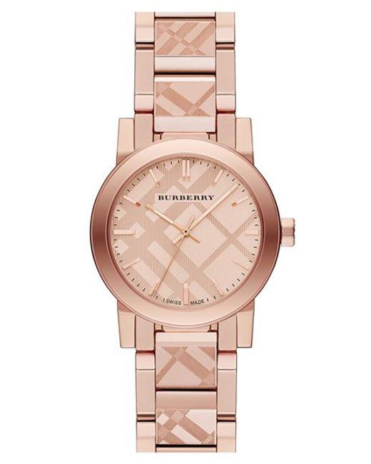 Burberry | Metallic Check Stamped Bracelet Watch | Lyst