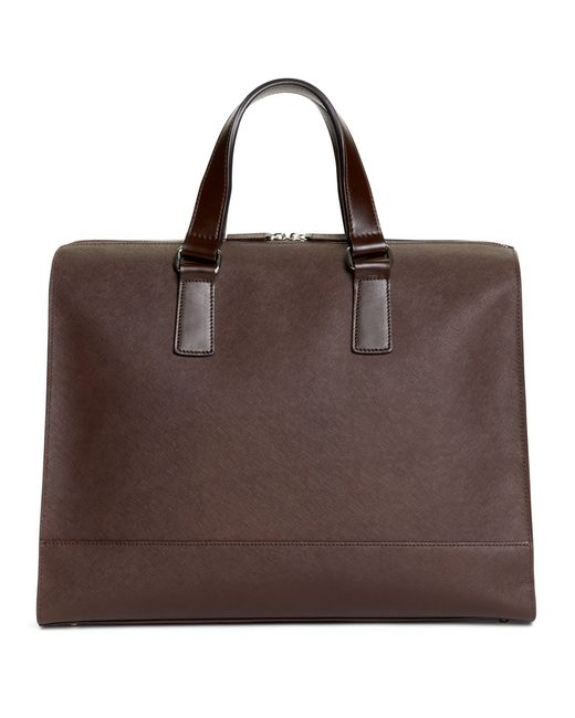 Brooks Brothers   Brown Saffiano Leather Slim Briefcase for Men   Lyst