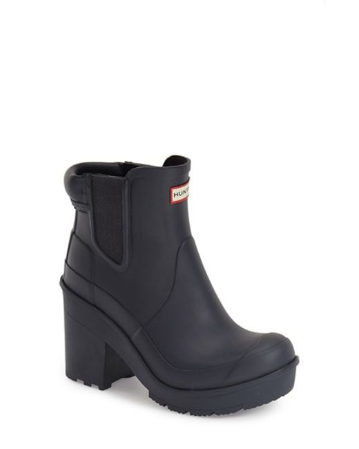New Hunter Womenu0026#39;s Original Block Heel Chelsea Boots In Black | Lyst