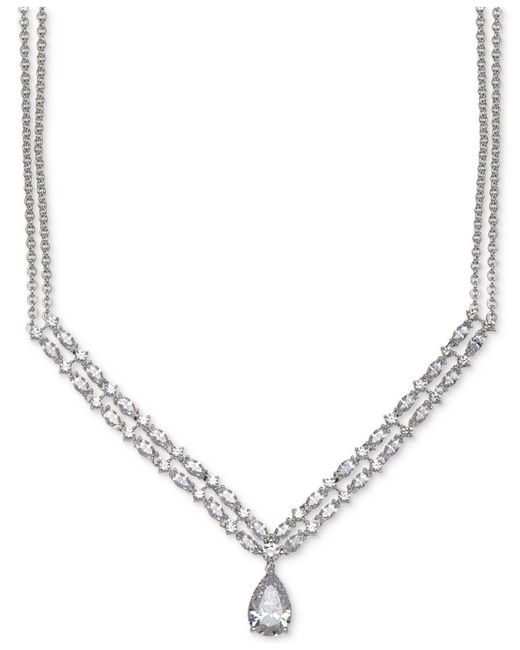 Arabella | Metallic Swarovski Zirconia Double-layer Pendant Necklace In Sterling Silver | Lyst