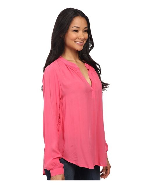 Velvet By Graham & Spencer | Pink Rosie03 Rayon Challis Long Sleeve Blouse | Lyst