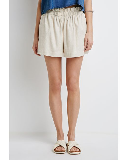 Forever 21 | Natural Ruffled High-waisted Shorts | Lyst