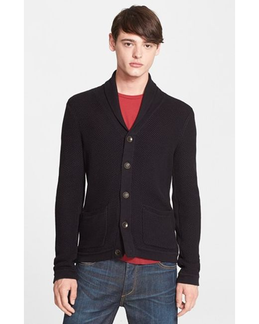 Rag & Bone | Black Standard Issue 'avery' Shawl Collar Cardigan for Men | Lyst